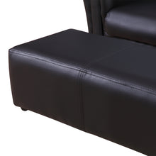 Load image into Gallery viewer, HOMCOM Children 2 Seater Sofa Armchair 2 Seater W / Footrest Black