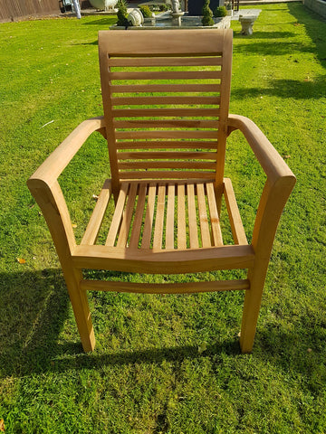 TEAK STACKING GARDEN PATIO CHAIR CHELSEA HANDMADE WOOD x 2