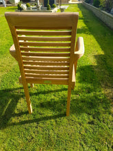 Load image into Gallery viewer, TEAK STACKING GARDEN PATIO CHAIR CHELSEA HANDMADE WOOD x 2