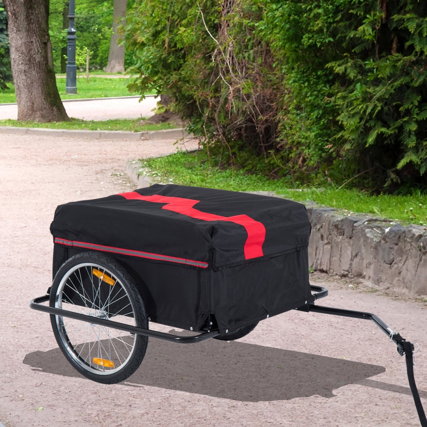 HOMCOM Bike Cargo Trailer W/Removable Cover-Red/Black