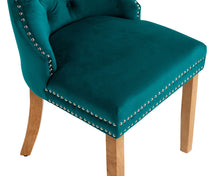 Load image into Gallery viewer, Ashford Dining Chair in Teal Velvet with Square Knocker And Oak Legs