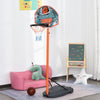 HOMCOM Kids Freestanding Metal Basketball Hoop w/ Ball Orange