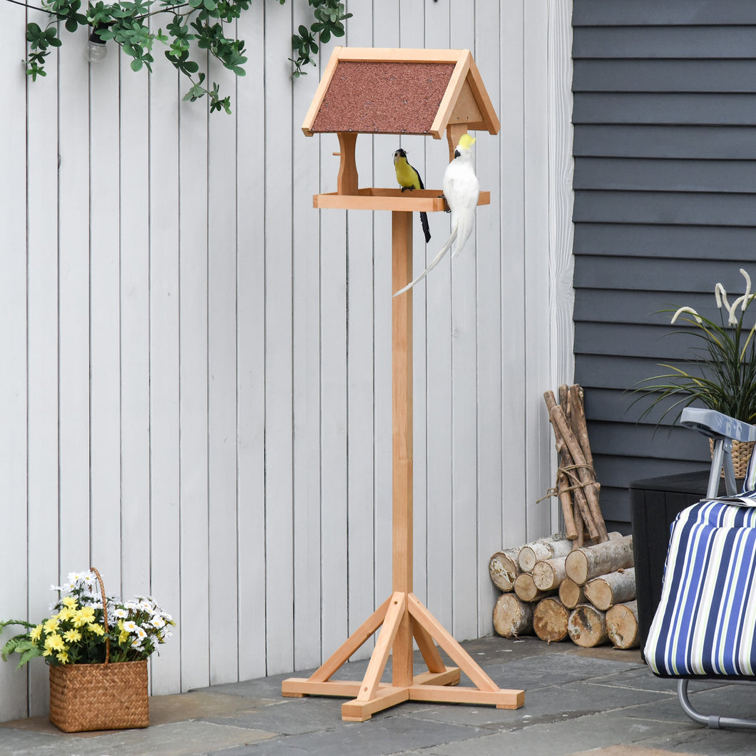 PawHut Wooden Bird Feeder Table Freestanding with Weather Resistant Roof Cross-shaped Support Feet for Outdoor Garden Backyard Pre-cut Natural