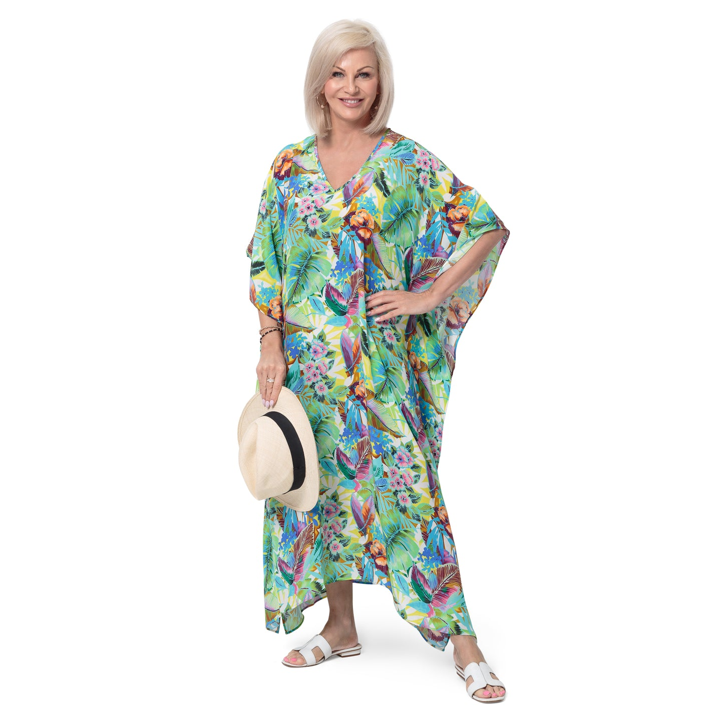 East Silk Castara Print Kaftan Dress