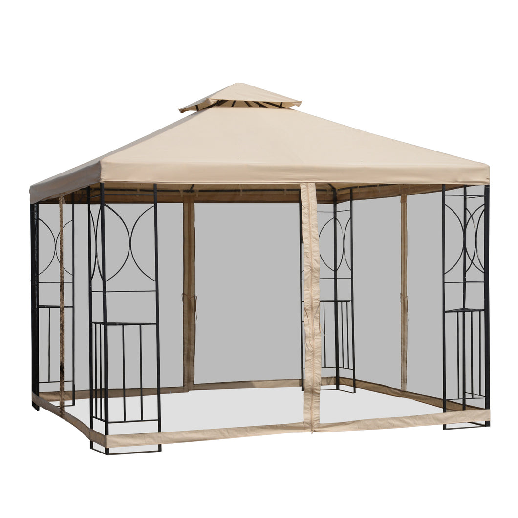 Outsunny 3x3m Outdoor Gazebo Tent W/Netting, 2-tier Roof