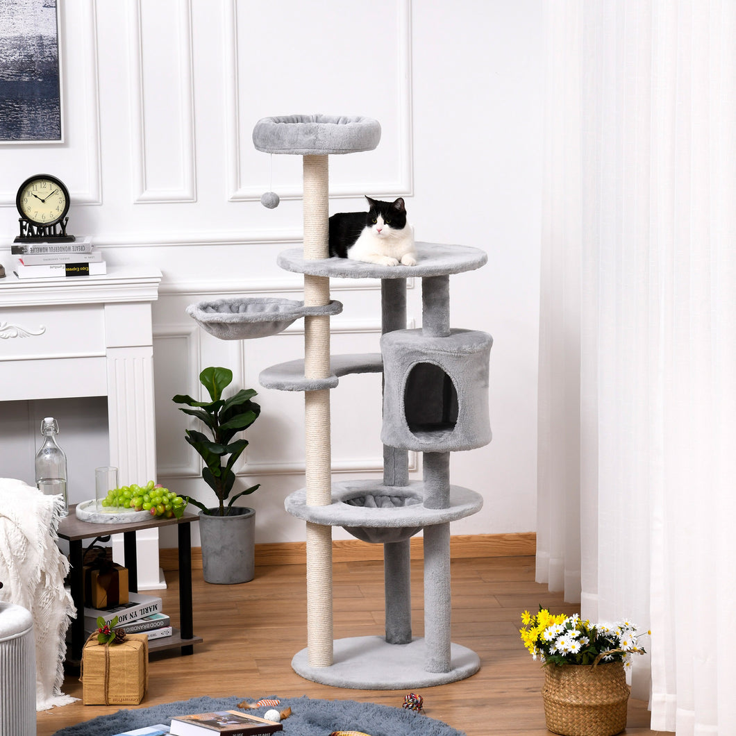PawHut Cat tree Tower 158cm Climbing Kitten Activity Centre with Sisal Scratching Post Perch Hanging Ball Hammock Condo Toy Light Grey