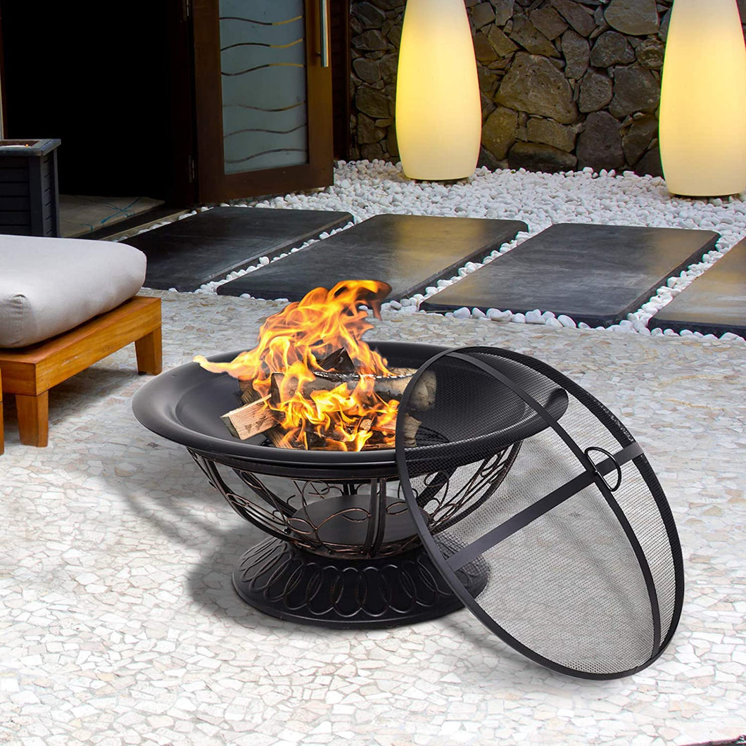 Outsunny Dia. 76cm Round Metal Outdoor Firepit Log Wood Burning Heater Garden Fire Bowl Brazier with Mesh Screen, Log Grate, Screen Lifting Tool, Antique Finish