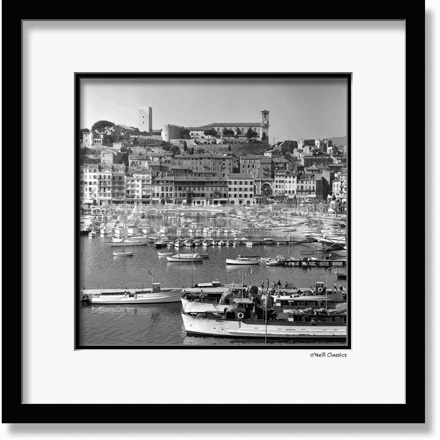 Harbour at Cannes 1958 - Framed B&W photograph