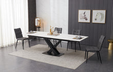 Load image into Gallery viewer, ceramic white extending dining table set inc 6 grey faux leather chairs