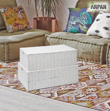 Load image into Gallery viewer, ARPAN Resin Woven Under Bed Storage Box, Chest Shelf Toy Clothes Basket With Lid - White