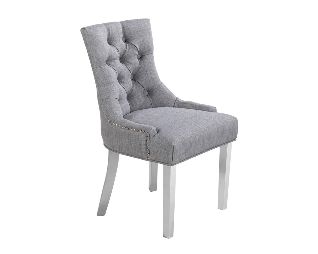 Verona Dining Chair in Grey with Chrome Knocker and Chrome Legs