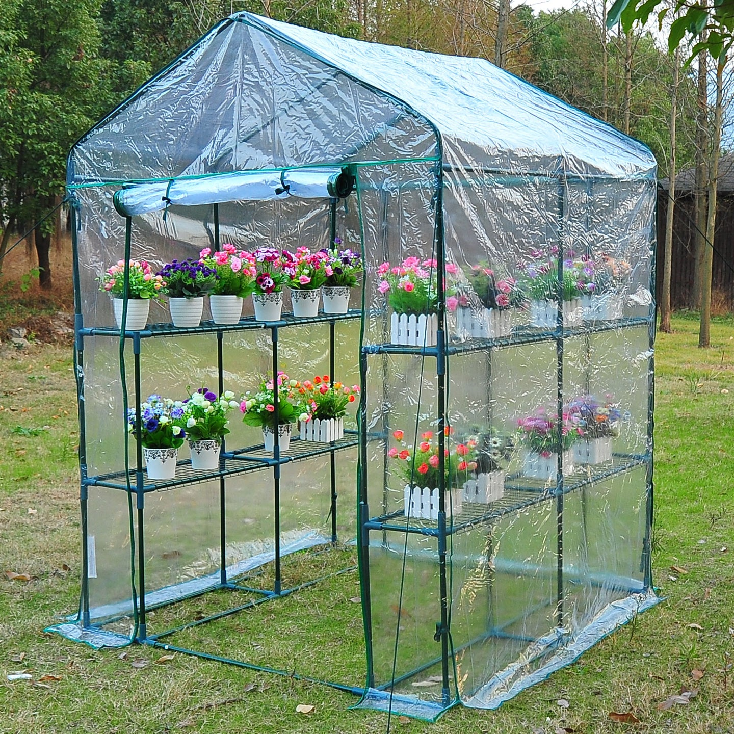 Outsunny Steel Frame Greenhouse Steel Frame, 2 Shelves