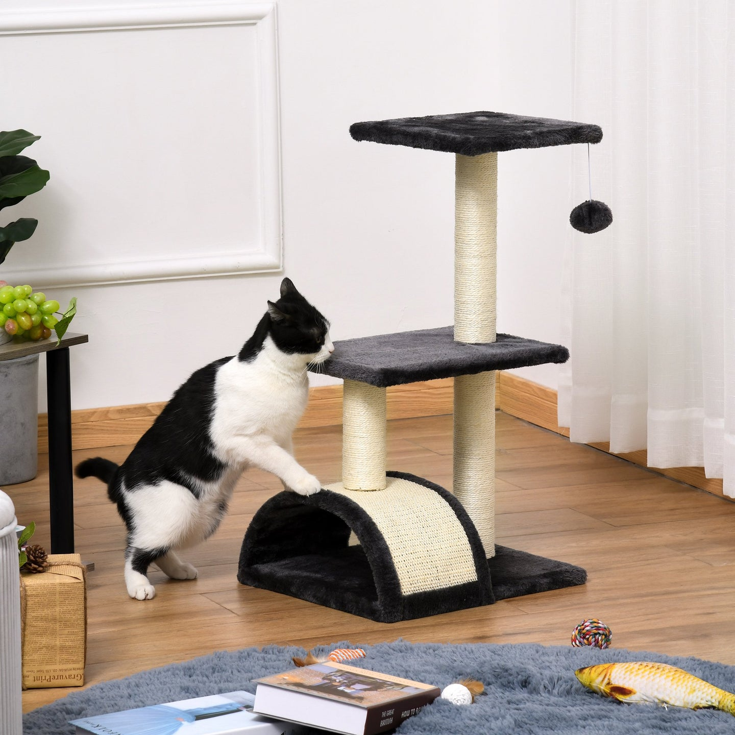 PawHut Cat tree Tower 72cm Climbing Activity Centre Kitten with Sisal Scratching Post Pad Arc Perch Hanging Ball Toy Grey