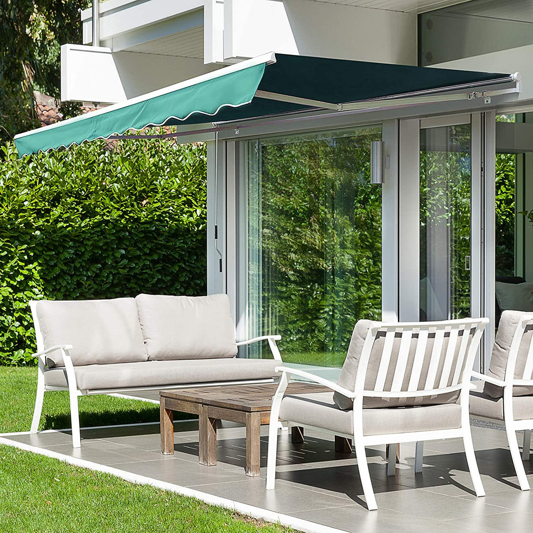 HOMCOM Manual Retractable Awning, size (4m x 3m)-Green