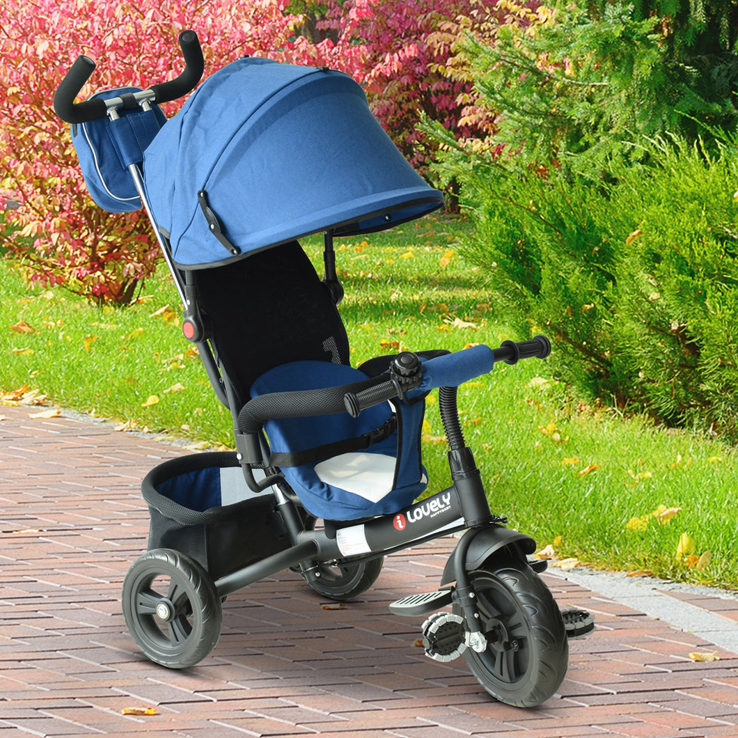 HOMCOM Baby Ride on Tricycle W/Canopy-Blue