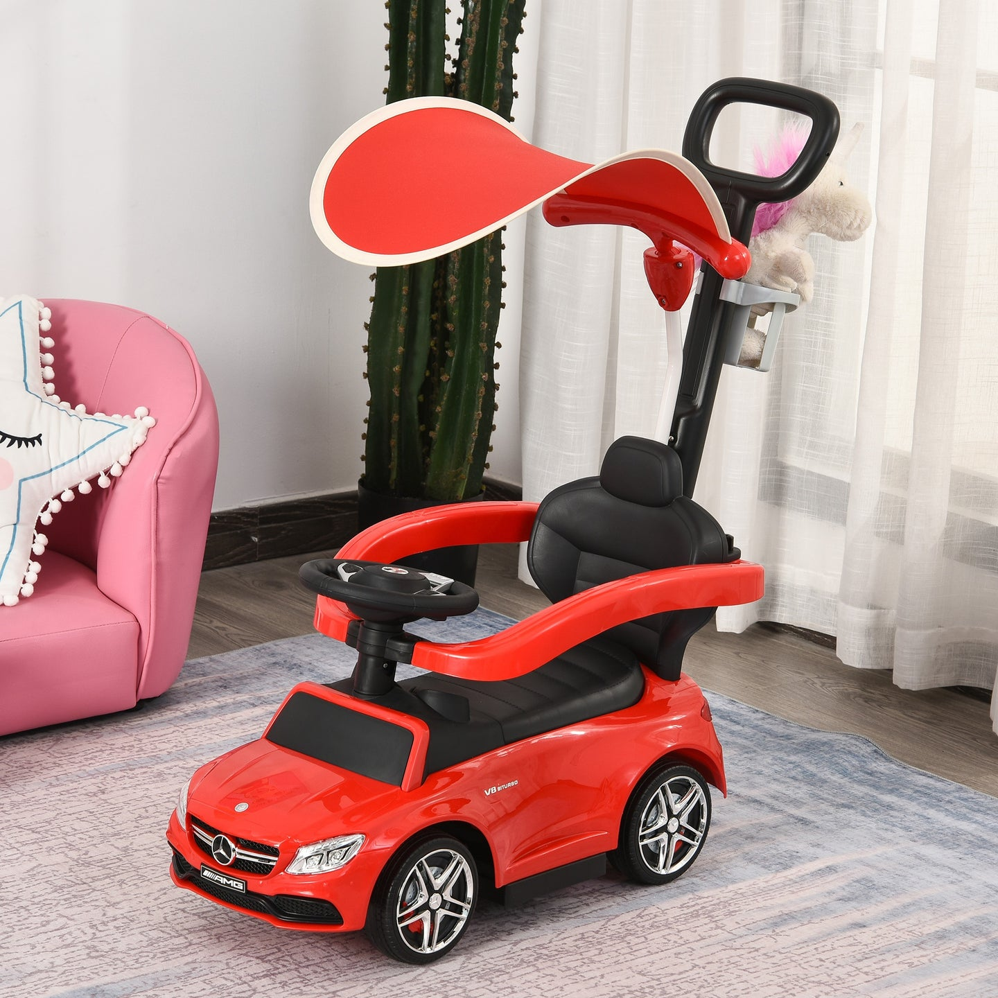 HOMCOM 3 in 1 Ride on Push Car Mercedes Benz for Toddlers Stroller Sliding Walking Car with Sun Canopy Horn Sound Safety Bar Cup Holder Ride on Toy