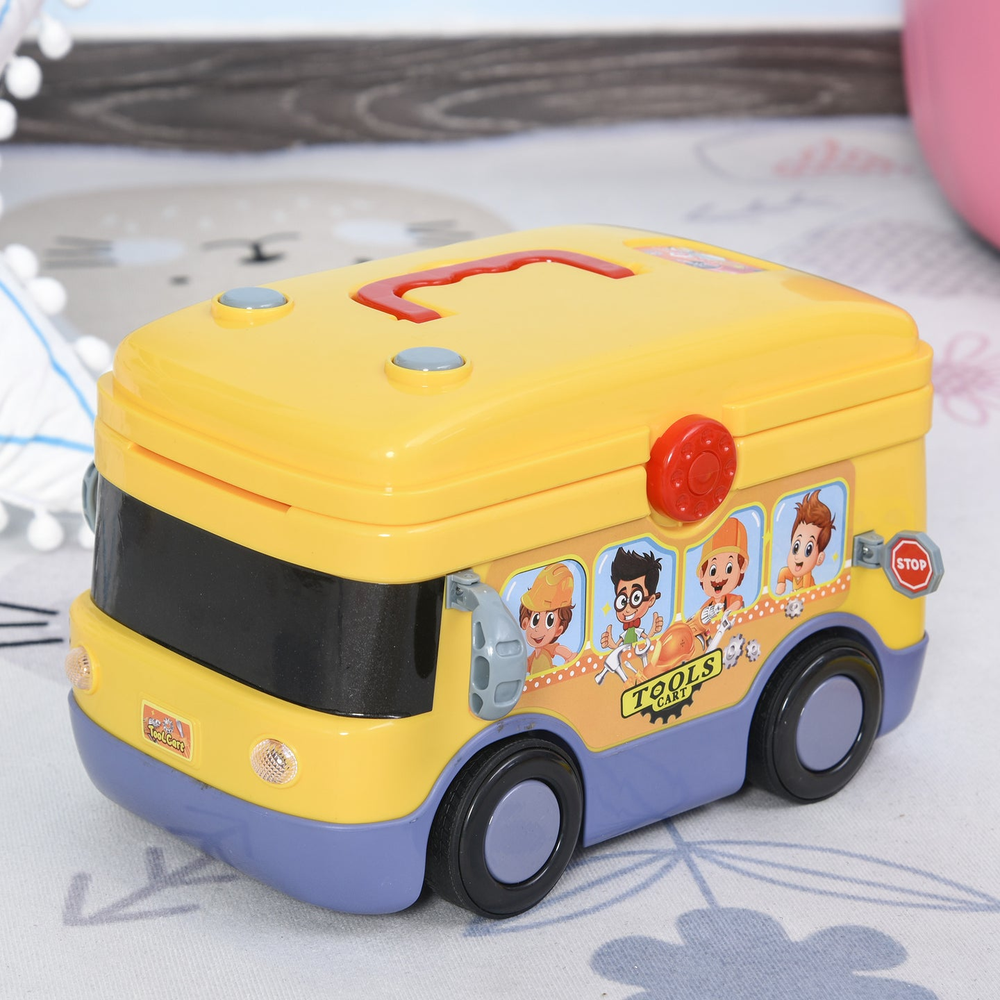 HOMCOM R/C Tools Bus Toy Tool Set for Kids and Toddlers Pretend Play Toy Tools for Boys and Girls 24-Pieces Electric Bus Yellow