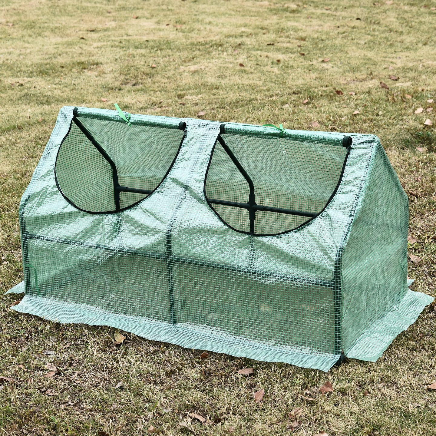 Outsunny Greenhouse W/ 2 Windows, 120Lx60Wx60H cm, Steel Frame-Green