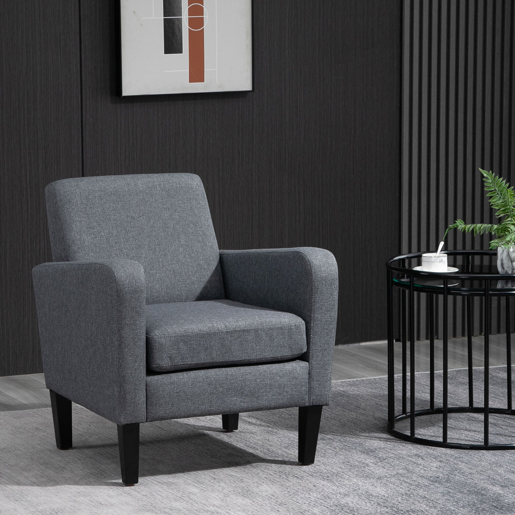 HOMCOM Linen Modern-Curved Armchair Accent Seat w/ Thick Cushion Wood Legs Foot Pads Single Compact Home Furniture City Flats Grey