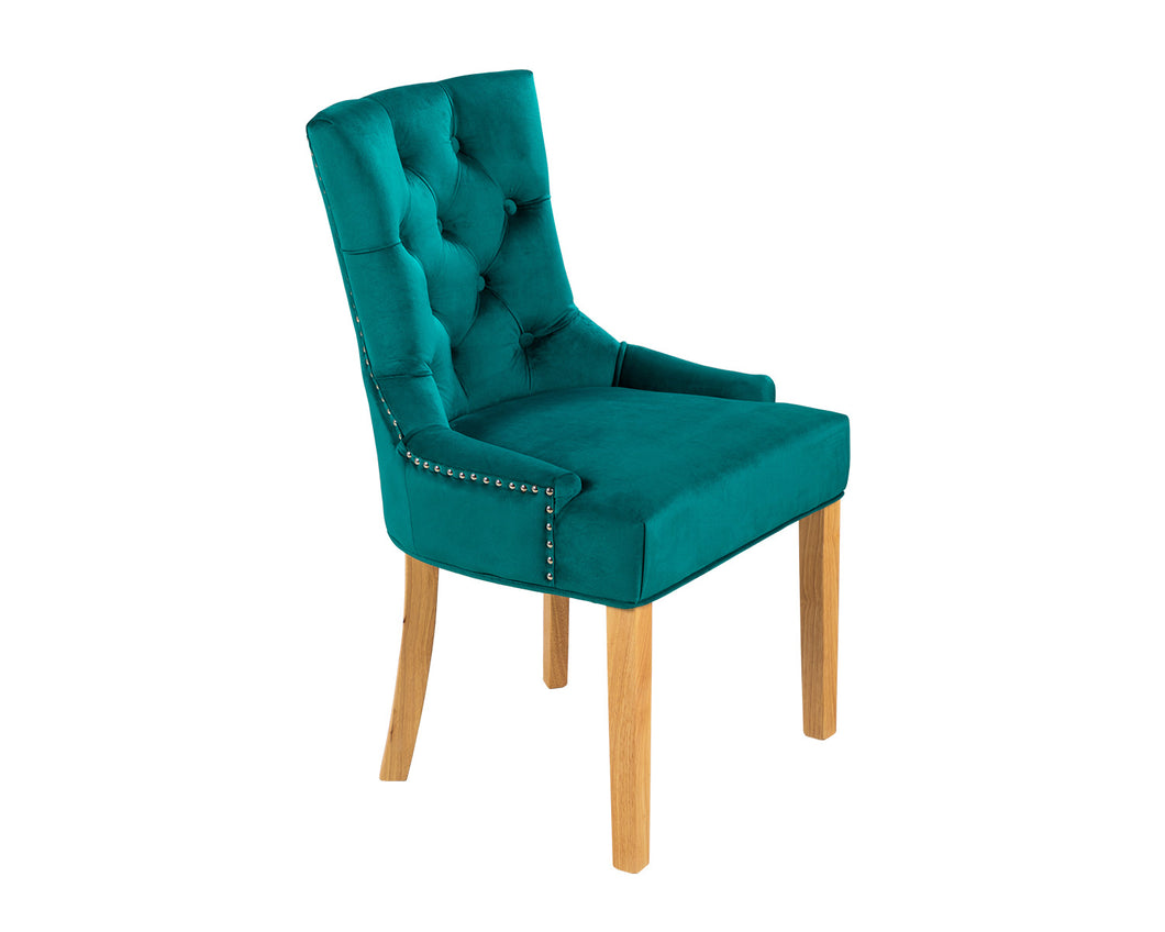 Verona Dining Chair in Teal Velvet with Chrome Knocker and Oak Legs