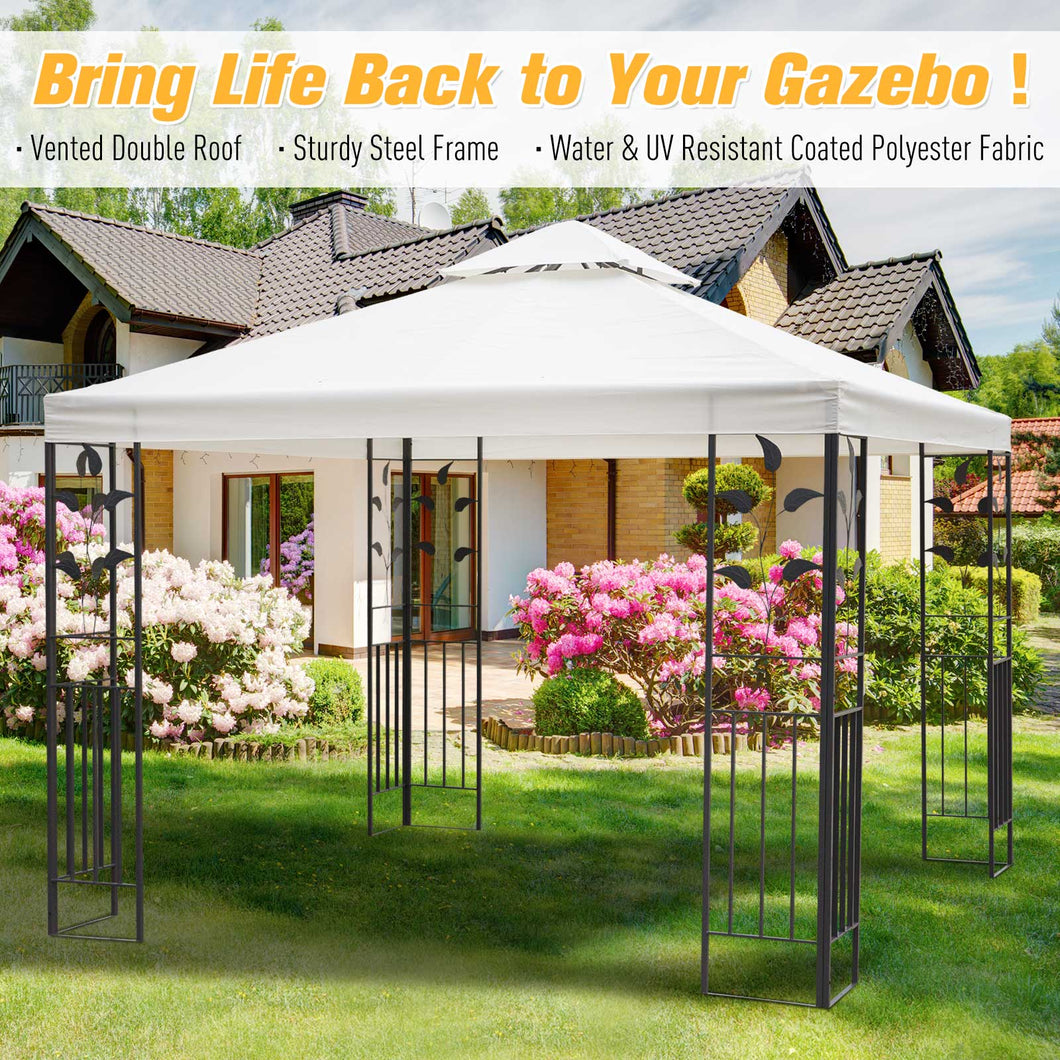 Outsunny 3m x 3m Vented Roof Metal Frame Garden Gazebo Cream