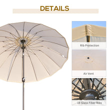 Load image into Gallery viewer, Outsunny Ф255cm Patio Parasol Umbrella Outdoor Market Table Parasol with Push Button Tilt Crank and Sturdy Ribs for Garden Lawn Backyard Pool White