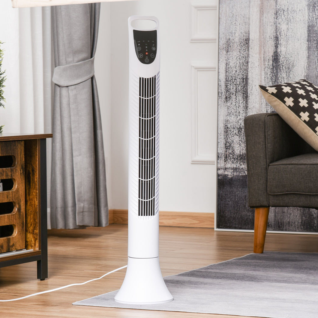 HOMCOM Freestanding Tower Fan, 3 Speed 3 Mode, 7.5h Timer, 70 Degree Oscillation, LED Panel, 5M Remote Controller, White