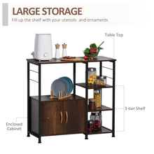 Load image into Gallery viewer, HOMCOM Industrial Storage Shelf Side Table Metal Frame End Desk with Cabinet & Rack for Living Room, Kitchen