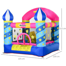 Load image into Gallery viewer, Outsunny Kids Bounce Castle House Inflatable Trampoline Basket with Inflator for Age 3-12 Castle Stars Design 2.25 x 2.2 x 2.15m