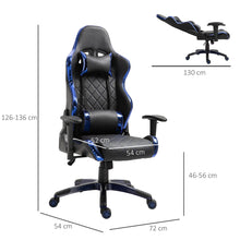 Load image into Gallery viewer, Vinsetto Holographic Stripe Gaming Chair Ergonomic Design PU Leather High Back 360 Swivel w/ 5 Wheels 2 Pillows Back Support Racing Chair Black&Blue