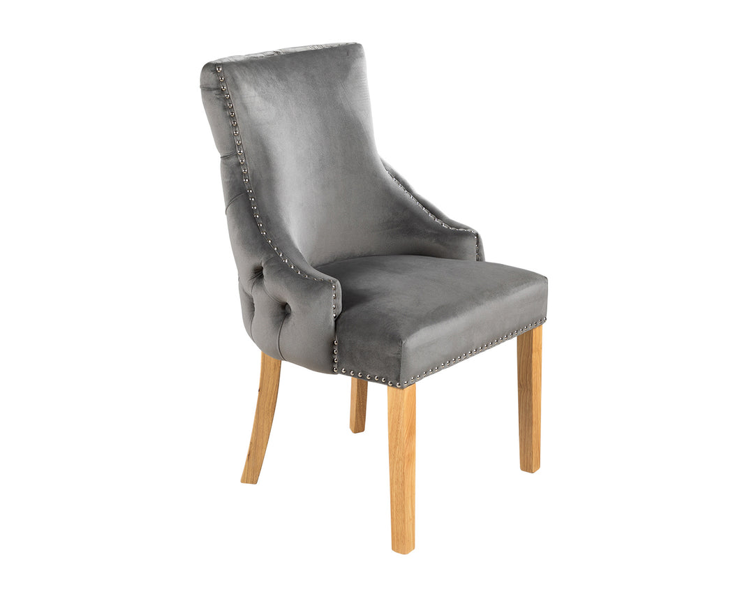 Elizabeth Dining Chair in Grey Velvet with Oak Legs