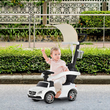 Load image into Gallery viewer, HOMCOM 3 in 1 Ride on Push Car Mercedes Benz for Toddlers Stroller Sliding Walking Car with Sun Canopy Horn Sound Safety Bar Cup Holder Ride on Toy