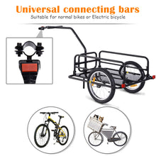 Load image into Gallery viewer, HOMCOM Bike Cargo Trailer Bicycle Cargo Storage Cart w/ Hitch Cycling Camping Luggage Storage Carrier Transport Steel Black