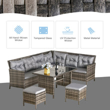 Load image into Gallery viewer, Outsunny 6 PC Garden Rattan Corner Dining Sofa Set 7-seater Outdoor Wicker Conservatory Furniture Lawn Patio Coffee Table Foot Stool w/ Cushion - Grey