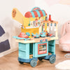 HOMCOM 50 Pcs Kids Fast Food Shop Cart Pretend Playset Kitchen Supermarket Toys Trolley Set with Play Food Money Cash Register Accessories Gift