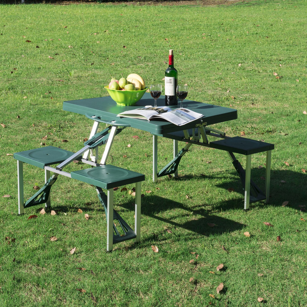 Outsunny Foldable Picnic Table Set - Green