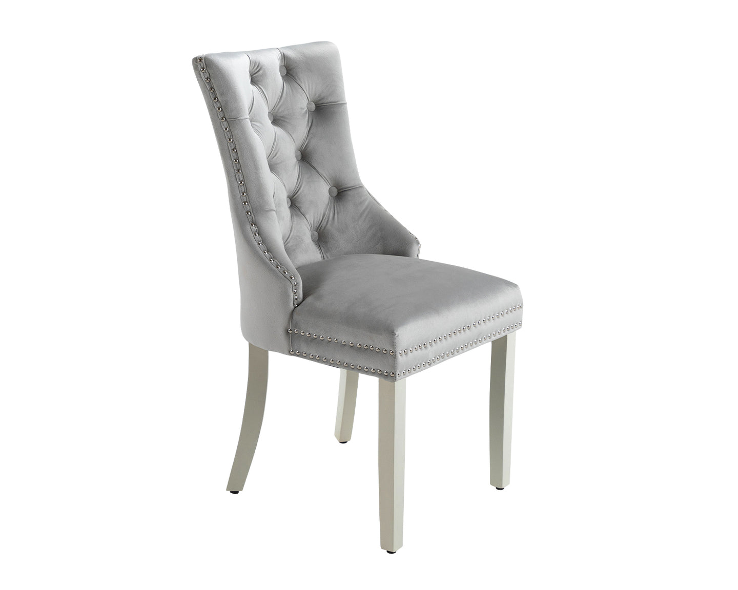 Ashford Dining Chair in Light Grey Velvet with Square Knocker And Grey Legs