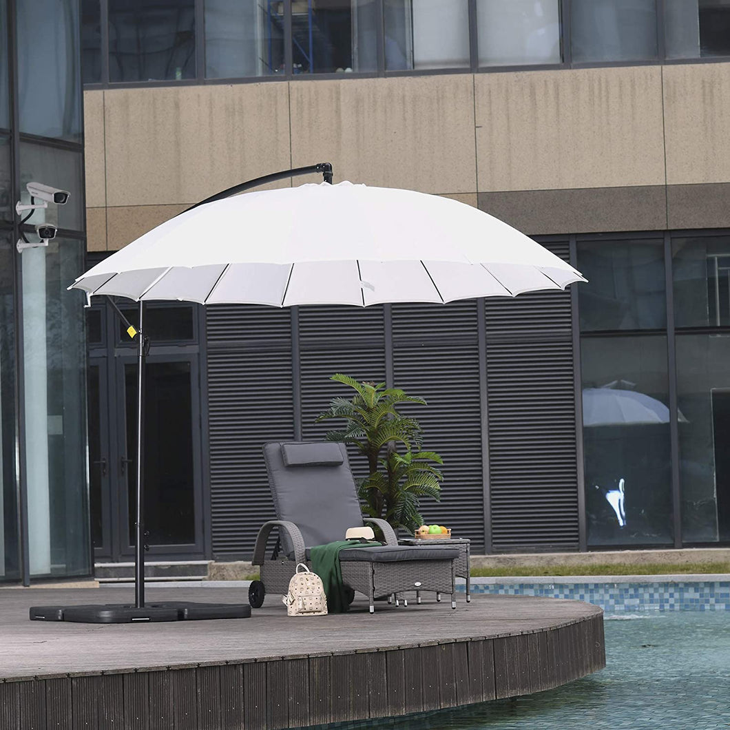 Outsunny 3(m) Cantilever Shanghai Parasol Garden Patio Hanging Banana Sun Umbrella Outdoor 18 Sturdy Ribs with Cross Base