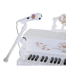 Load image into Gallery viewer, HOMCOM Mini Electronic Piano W/Microphone and Stool-White