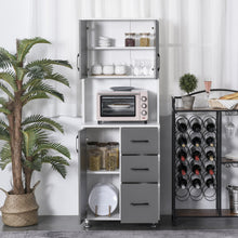 Load image into Gallery viewer, HOMCOM Modern Kitchen Buffet with Hutch Pantry Storage,2 Cabinets, 3 Drawers and Open Countertop, Grey