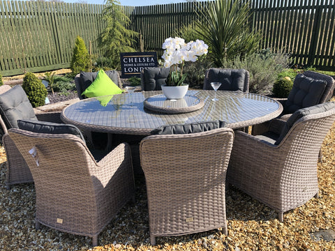 RATTAN GARDEN FURNITURE DINING TABLE OVAL WITH RECLINE CHAIRS
