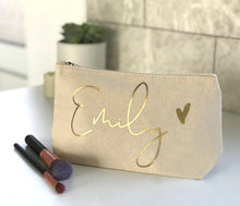 Load image into Gallery viewer, Metallic Name Cosmetic Bag