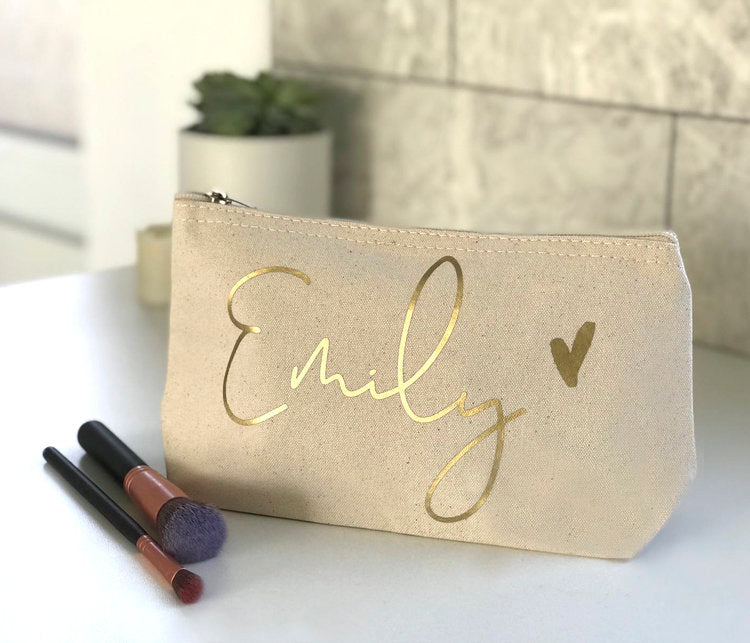 Metallic Name Cosmetic Bag