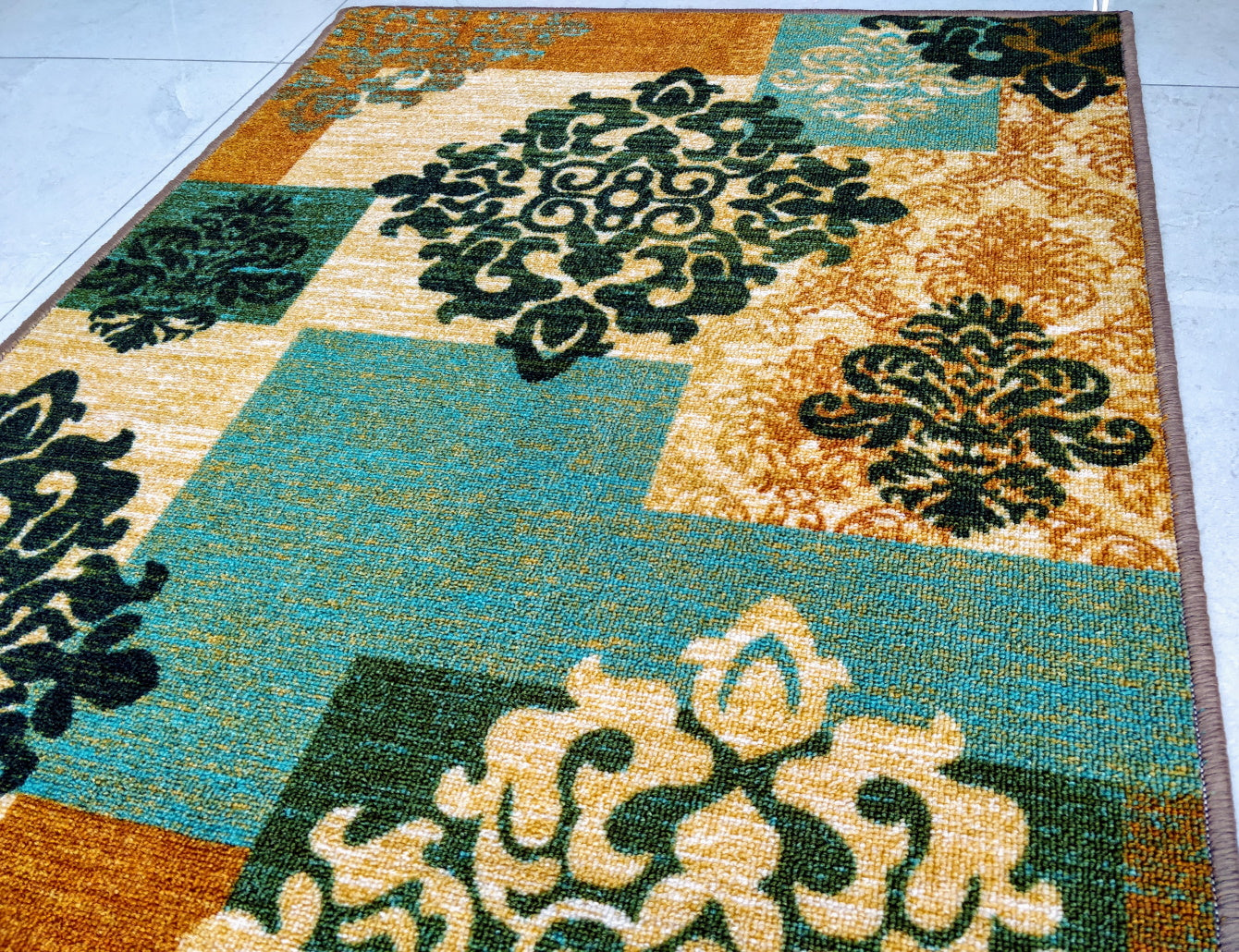 Green Decor Design with Copper Touch Area Rug / Runner - Anti-slip with latex backing