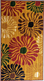 Colourful Wild Flowers Design Polyester Rugs - Anti-slip with latex backing