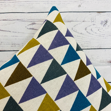 Load image into Gallery viewer, 2 x Multicoloured Triangle Print Cushion Covers (43608) Linen 45 x 45 cm Square Premium Soft Furnishing, Sofas, Beds, Indoor, Outdoor