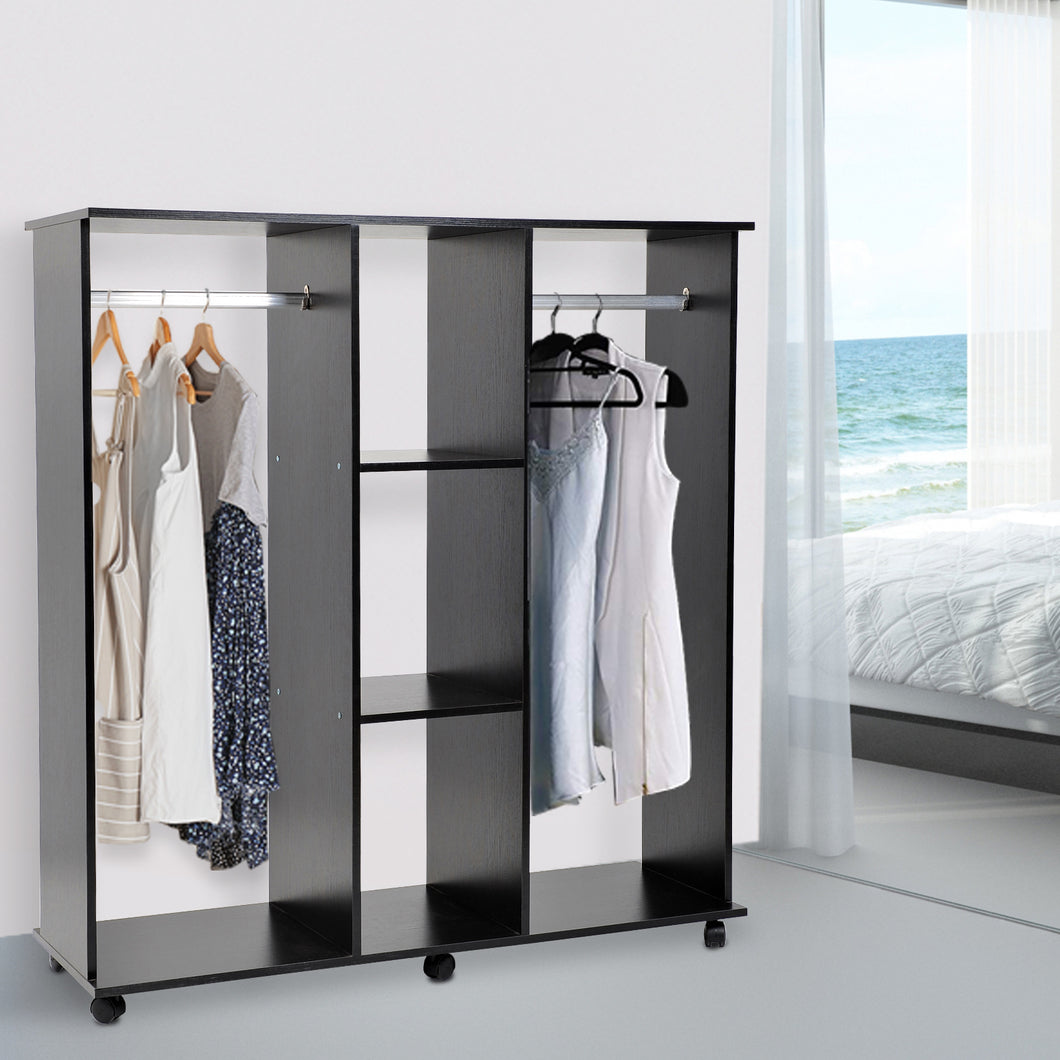 HOMCOM Double Mobile Open Wardrobe With Hanging Clothes Rails Storage Shelves Organizer Bedroom Furniture-Black