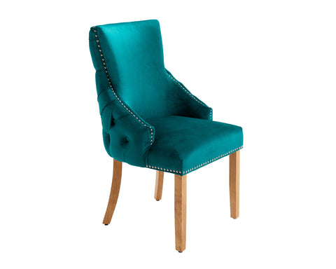 Elizabeth Dining Chair in Teal Velvet with Round Knocker and Oak Legs