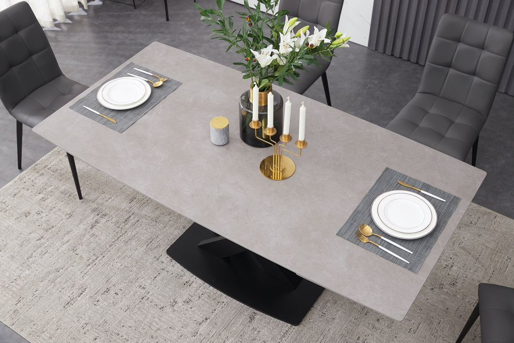 ceramic grey extending dining table inc 8 grey faux leather chairs