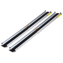Load image into Gallery viewer, HOMCOM 2-piece 6 FT Wheelchair Ramp, Overall Length: 104.5-183 cm-Silver Metal/Black PVC